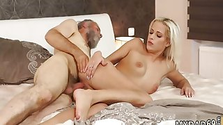Vintage old man and hardcore daddy Surprise your gf and