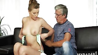 Vintage old young Sex with her boypalВґs father after