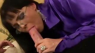 Hot satin clad babe fucked