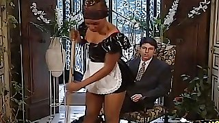 Ebony maid likes to clean that johnson too and have her bosses cock cleaned with her vag and mouth